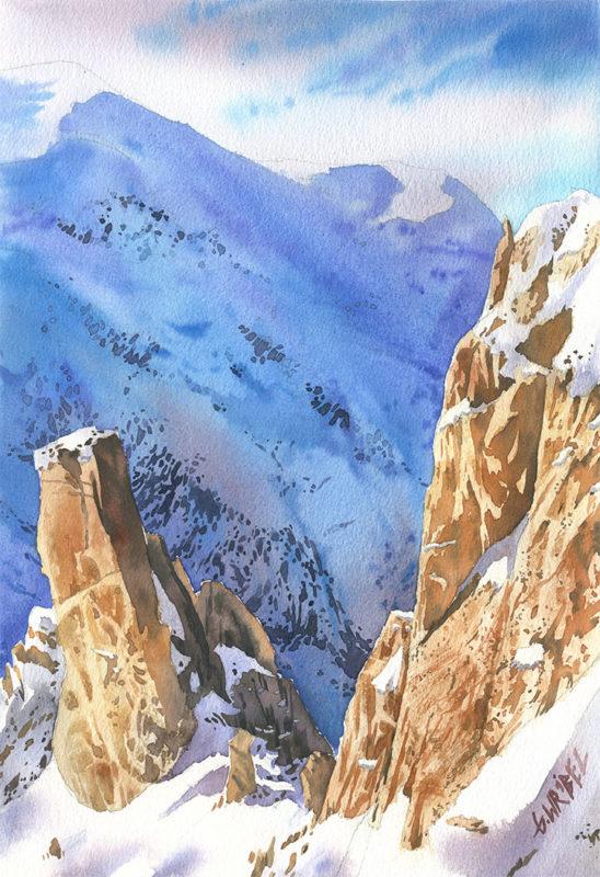 skaly w zimowej akwareli