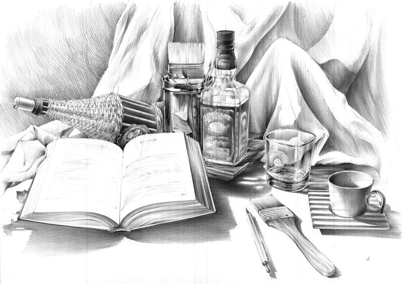 martwa natura rysunek ołówkiem