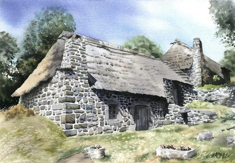 Średniowieczne chałupy – malowane akwarelą